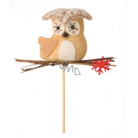 Owl with a 6 cm red snow flake + skewers
