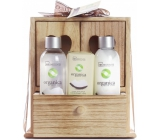 Idc Institute Organic Coconut Oil shower gel 120 ml + body milk 120 ml + soap 90 g in wooden box, cosmetic set