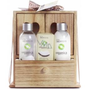 Idc Institute Organic Coconut Oil shower gel 120 ml + body milk 120 ml + soap 90 g in wooden box, cosmetic set