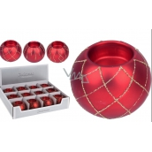 Candlestick Glass Ball Red for tea candle 80 mm 1 piece