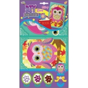 Mosaic with glittering sequins Owls pink 23 x 16 cm