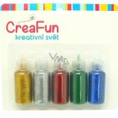 CreaFun Dekorační barvy Třpytivé na papír, textil, sklo 5 x 20 ml