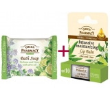 Green Pharmacy Aloe Vera and Lime lip balm 2 x 3.6 g + Verbena and Lime with olive oil toilet soap 100 g, triopack