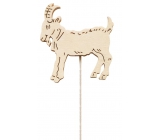 Wooden goat 8 cm white + wire