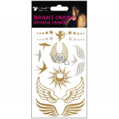 Tattoo decals gold and silver Wings and Swallows 15 x 9 cm
