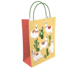 Nekupto Gift kraft bag 18 x 24 x 8 cm Llamas and cacti 523 KKM