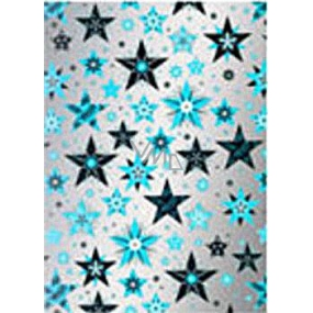 Ditipo Gift wrapping paper 70 x 500 cm Christmas silver Blue and black stars2033913