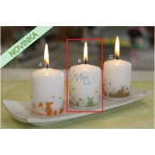 Lima Bunnies in the grass green candle white cylinder 50 x 70 mm 1 piece
