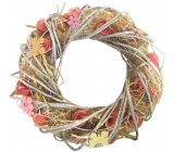 Wreath intertwined with flowers pink-orange 34 cm