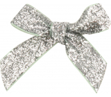 Velvet silver glittering bow 8 cm 12 pieces