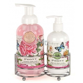 Michel Design Works Peony foaming liquid hand soap 530 ml + hand and body lotion 236 ml, cosmetic set