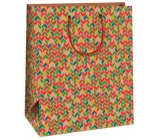 Ditipo Gift paper bag large beige, with geometric patterns 26,4 x 13,7 x 32,4 cm AB