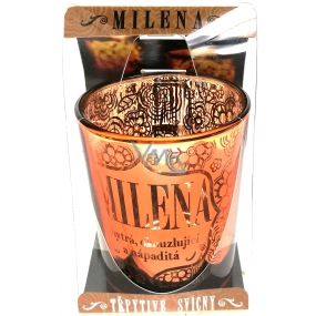 Albi Glittering candlestick made of glass for tea candle MILENA, 7 cm