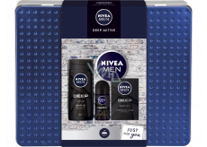 Nivea Men Deep Active shower gel 250 ml + aftershave 100 ml + antiperspirant deodorant roll-on 50 ml + cream 150 ml, cosmetic set for men