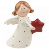 Porcelain angel with a star 10 cm standing