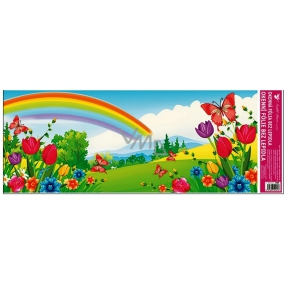 Room Decor Window film without glue landscape with rainbow and tulip 60 x 22.5 cm 1 piece