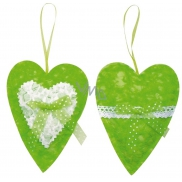 Heart for hanging fabric 14 cm green