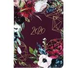 Albi Diary 2020 weekly Bordo flowers 17 x 12.5 x 1.2 cm