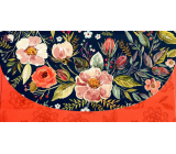 Nekupto Greeting card money envelope Blue-red with flowers 116 x 220 mm
