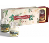 Yankee Candle Magical Christmas Morning Singing Carols - Carol Singing + Holiday Hearth - Holiday Fireplace + Surprise Snowfall - Snow Surprise Scented Candle Classic small glass 3 x 104 g, Christmas gift set