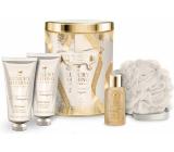 Grace Cole Impress shower gel 100 ml + body lotion 100 ml + bath foam 50 ml + bath sponge, cosmetic set in a tin can