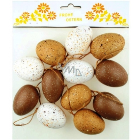 Speckled eggs - brown shades 6 cm, 12 pieces in a plastic bag