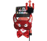 Devil mask with horns, pitchfork, bow tie set