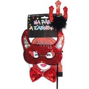 Devil mask with horns, pitchfork, bow tie set
