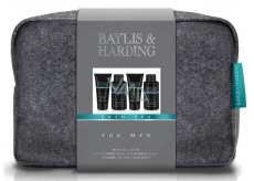 Baylis & Harding Amber & Sandalwood Liquid Soap for Body and Hair 100 ml + Face Wash 100 ml + After Shave Balm 50 ml + Shower Gel 50 ml + Larger Gray Toiletry Cosmetic Set for Men