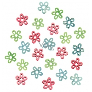 Wooden flowers 2 cm, 24 pcs