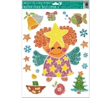 Room Decor Window film without adhesive Merry images from lines angel with yellow star 42 x 30 cm