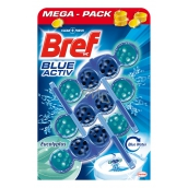 Bref Blue Aktiv Eucalyptus WC block for hygienic cleanliness and freshness of your toilet, color water to blue shade 3 x 50 g
