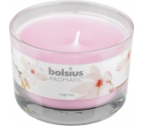 Bolsius Aromatic Magnolia - Magnolia scented candle in glass 90 x 65 mm 247 g burning time approx. 30 hours