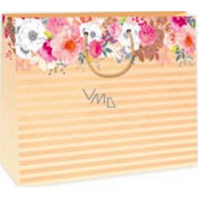 Ditipo Gift paper bag 38 x 10 x 29.2 cm orange stripes DAA flowers
