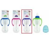 First Steps Feeding Bottle kojenecká lahev 0+ čirá s úchopy fialové barvy 250 ml