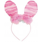 Headband ears with feather pink stripes 23 cm