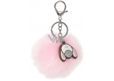 Dinky Bear Key Ring Pom Pom Pink