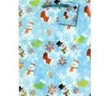 Nekupto Gift paper bag medium 23 x 18 x 10 cm Christmas, snowmen, hologram 093 40 GM
