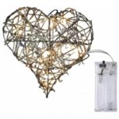 Emos Wicker heart lighting 20 cm, 10 LED + 30 cm power cord 1 W warm white