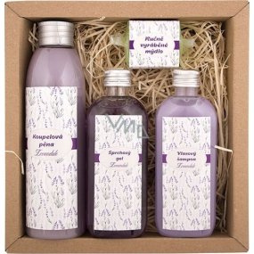 Bohemia Gifts & Cosmetics Spa Lavender bath foam 200 ml + shower gel 100 ml + hair shampoo 100 ml + handmade soap 30 g, cosmetic set