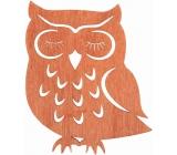 Wooden orange owl for hanging 12 cm