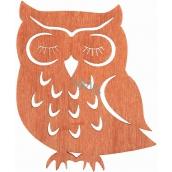 Dřevěná sova závěsná oranžová 12 cm