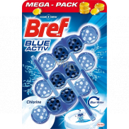Bref Blue Aktiv Chlorine WC block for hygienic cleanliness and freshness of your toilet, colors the water in a blue shade 3 x 50 g