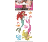 Colorful children's tattoo decals with mermaid glitters 10.5 x 6 cm