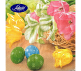 Nekupto Paper napkins 3 ply 33 x 33 cm 20 pieces Easter Yellow, pink tulips, green, blue egg