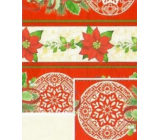 Nekupto Gift wrapping paper 70 x 200 cm Christmas Red-beige poinsettia