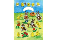 Angel Easter plastic bag Bunnies in the meadow 32 x 20 x 4 cm