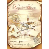 Nekupto Postcard Magical Christmas brown, cottages