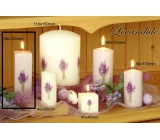 Lima Flower Lavender scented candle white with decal lavender prism 45 x 120 mm 1 piece
