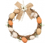Wicker wreath with brown plastic eggs 20 cm